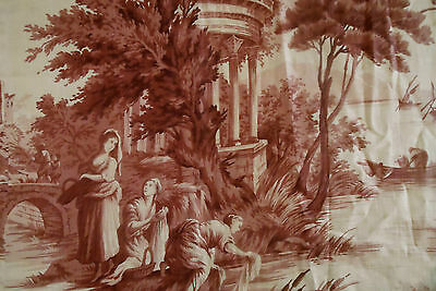 Antique French Pastoral Toile Fabric~Deep Purple Tea Toned Beige~ pillows ~  # 1