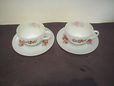 Vintage Fire King Primrose 2 cups & saucers-excond W no color fade or decal loss
