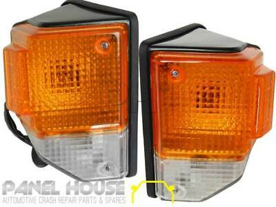Toyota Landcruiser 70 75 Series Pair 1xLH 1xRH Black Surround Corner Lights New