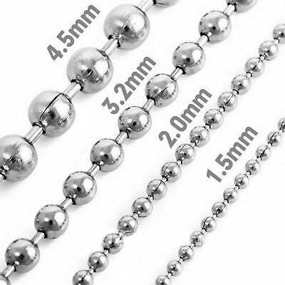 1.5mm-10mm Fashion Women Mens 316L Stainless Steel Necklace Ball Chain 18-40""