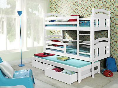 3 Sleeper Triple Bunk Beds New Solid Pine Childrens Bed frame 3ft Trundle