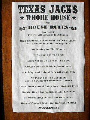 """OLD WEST BROTHEL RULES THE FIRE BOX WHORE HOUSE POSTER 11/""""x17/"""" 501"""