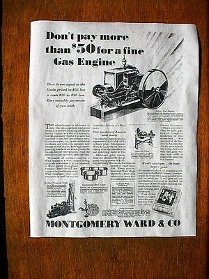 "(002) VINTAGE REPRINT ADVERT MONTGOMERY WARD 1929 STATIONARY GAS ENGINE 11""x14"""
