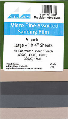"Albion Alloys 353 - 5 Sheet 4"" x 4"" Assortment Micro Fine Sanding Film Kit New"