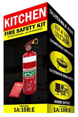 Fire Extinguisher Kit 1kg ABE Fire Extinguisher & 1x1 Mtr Fire Blanket House