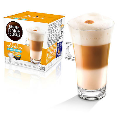 Dolce Gusto Unsweetend Latte Machiato (6 Boxes,Total 96 Capsules ) 48 Servings