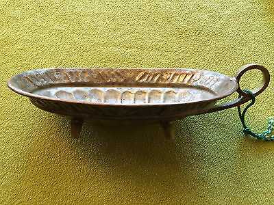 Antique Vintage Tinned Copper Footed Bowl w Brass Handle & Feet Stamped Hammered