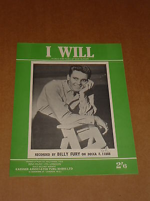 "Billy Fury ""I Will"" sheet music"