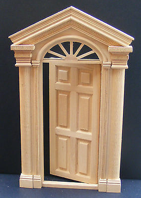 1:12 Scale External Wooden Door & Portico Dolls House Miniature Accessory 081