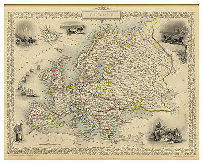 Europe British Islands France Germany Spain Italy illustrated map Tallis ca.1851
