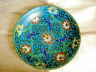 Antique Chinese Qing Large Cloisonne Enamel Charger In The Ming Style