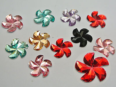 100 Mixed Color Acrylic Flatback Faceted Windmill Flower Rhinestone Gems 16mm