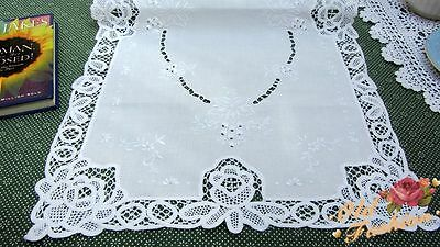 Vintage Hand Embroidered Table Runner/Centerpiece~White~Grapes~Dainty~Stunning~