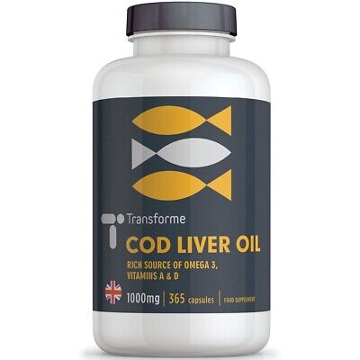 Cod Liver Oil 1000mg High Strength - Bottle 365 Capsules - Transforme
