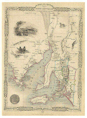 South Australia Spencer Gulf Adelaide illustrated map Tallis ca.1851