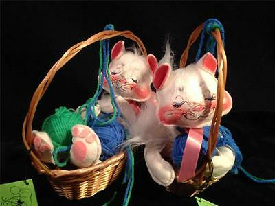 Vtg Annalee Doll Spring 2 Cats In Baskets playing with Yarn Balls 1985-87  MINT