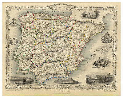 Spain Portugal Iberian Peninsula Gibraltar illustrated map John Tallis ca.1851