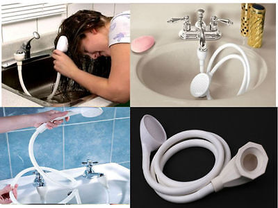 Single Double Tap Bath Sink Shower Head Hose Spray Hairdresser Pet Push On Mixer