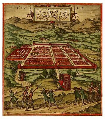 Cusco Cuzco Peru South America bird's-eye view map Hogenberg Braun ca.1572