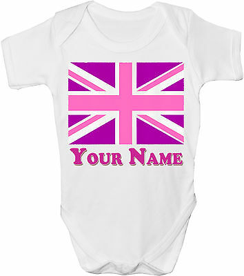 Pink Union Jack Gb Flag Personalised Baby Vest /gro /bodysuit *great Named Gift*