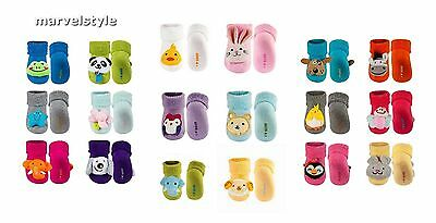Brand New Newborn Baby Girls Boys Terry Socks with Plush Rattle age 0-12 months