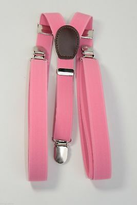 PINK Mens Women Clip-on Suspenders Elastic Y-Shape Adjustable Braces NEW