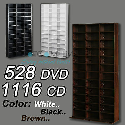 1116 CD/528 DVD Storage Shelf Rack Unit Adjustable Bluray Video Games Book