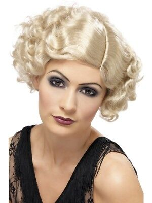 1920's Razzle Blonde Flirty Flapper Wig Adult Womens Smiffys Fancy Dress Costume