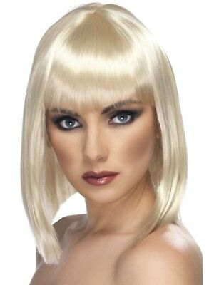 Blonde Glam Wig Short Blunt with Fringe Adult Womens Smiffys Fancy Dress Costume