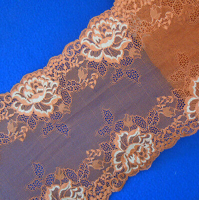 """3 Yards 8 1/2"""" Wide Lovely Floral Stretch Rust Red Lace with Ivory Flower 130"""