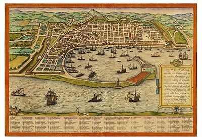 Messina Sicily Italy bird's-eye view map Braun Hogenberg ca.1572