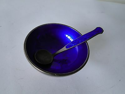 Salt Cellar, Sterling Silver, Blue Enamel C 1955 With Spoon, Denmark Art Nouveau
