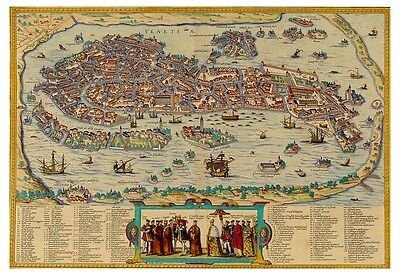 Venice Veneto Italy bird's-eye view map Braun Hogenberg ca.1572