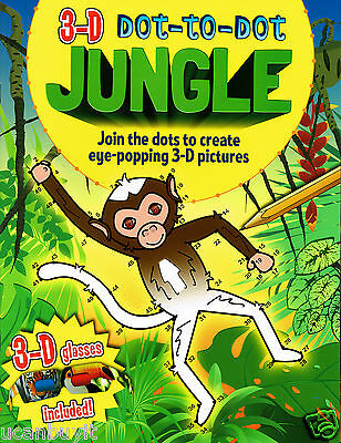 3-D Dot-to-Dot JUNGLE Activity Book with 3D Tiger Toucan Glasses Included Age 3+