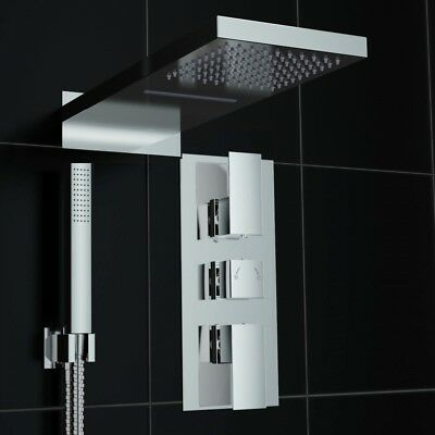 Square Thermostatic Mixer Shower Valve Tap Waterfall Chrome Set NEW TMV3