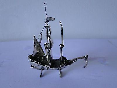 MINIATURE SHIP STERLING SILVER ITALY 1950, WITH SAILS, MARKED AND SWEET