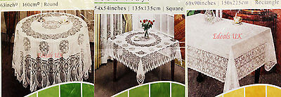 New Round,Square & Rectangle Vinyl Pvc White Embossed Lace Tablecloth For Table