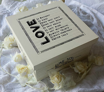 East of India Vintage Wedding Wooden Memory Box Keepsake Love Marriage Cream
