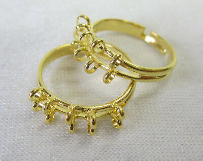 Ring Base x 2 With 10 Loops to Add Your Own Beads to Rings in Gold Tone JF1035