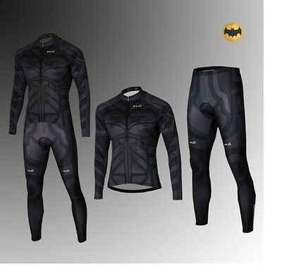 Batman Costume Dark Knight Cycling Suit Bicycle Bike Long Jersey+Pants S-3XL