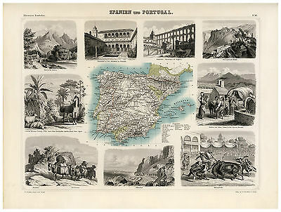 Spain Portugal Iberian Peninsula illustrated map F.A. Brockhaus ca.1863