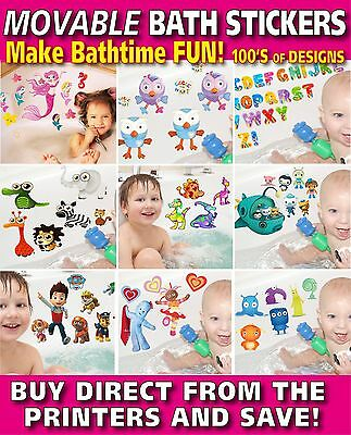 Bath Stickers TOTALLY MOVABLE Make Bath Time Fun-shopkins, Alphabet and more