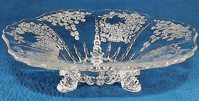 New Martinsville Meadow Wreath Console Bowl Three 3 Footed Perfect Clear