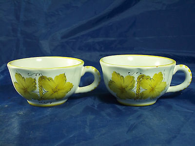 italy Hand Painted Cups ( 2 count ) Leaves AS IS