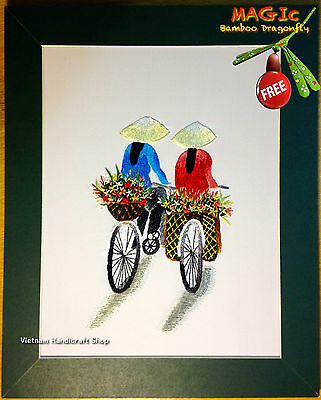 Silk Hand-Embroidered Picture - Traditional Vietnamese Flower Seller - bordado