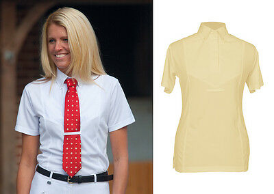 New Shires Ladies Short Sleeved Tie Show Shirt in White or Yellow