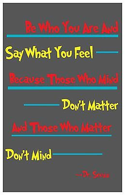 """Dr. Seuss Art Poster Be Yourself Quote Home Decor Nursery 11x17"""" Rare Hot New"""