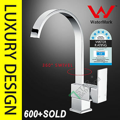 Bathroom WELS Square Brass Kitchen Laundry Basin Sink Mixer Swivel Tap Faucet