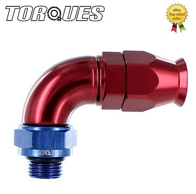 "AN-10 (10AN JIC-10) To ORB-8 (3/4"" UNF) 90 Degree ULTRAFLOW Teflon Hose Fitting"