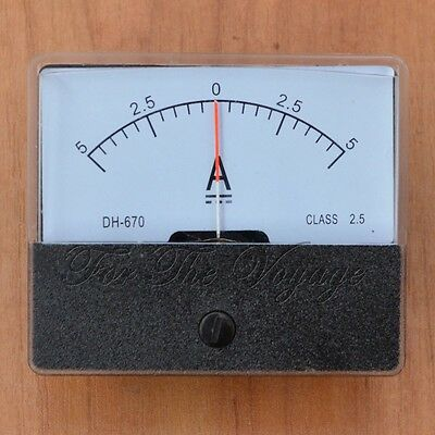 -5A to 0 to +5A DC Ammeter Amp Panel Meter Analogue Analog Internal Shunt 5-0-5
